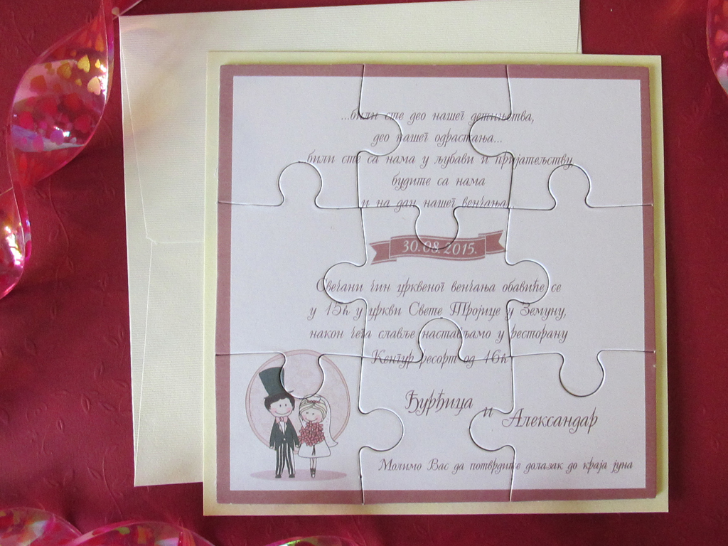 Partecipazioni Matrimonio Puzzle Prezzo.Puzzle Partecipazioni Di Nozze